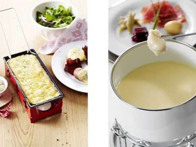 Switzerland cheese raclette and cheese fondue