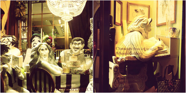 Henri Bendel Christmas window display: Al Hirschfeld and Sarah Jessica Parker
