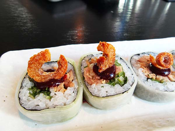 Japanese restaurant Izakaya at the Sir Albert hotel in Amsterdam - duck roll