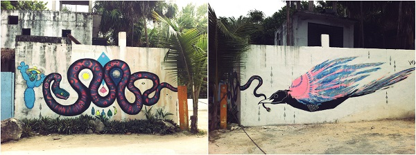 Street art Tulum at the beach, Mexico