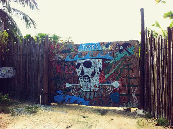 Street art Tulum at the beach Mexico
