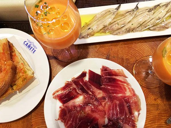 Bar Cañete tapas jamon and gazpacho