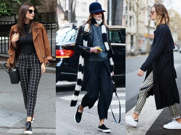 checked and striped trousers