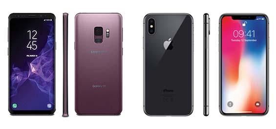 LINKS SAMSUNG GALAXY S9 / RECHTS IPHONE X