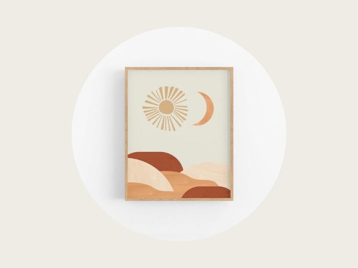 Burnt orange sun and moon