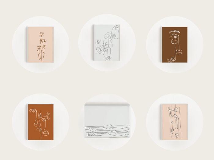 set van 6 prints
